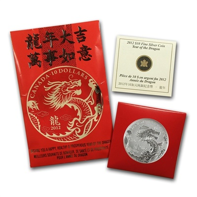 2012 RCM 1/2 oz Silver Canadian $10 - Year of the Dragon